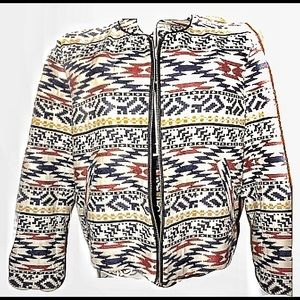 Zara Trafaluc zipper jacket multicolor ikat Aztec